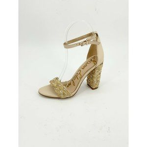 Sam Edelman Yoana Sandal Ankle Strap Heel Raffia Sand Natural Gold Strappy